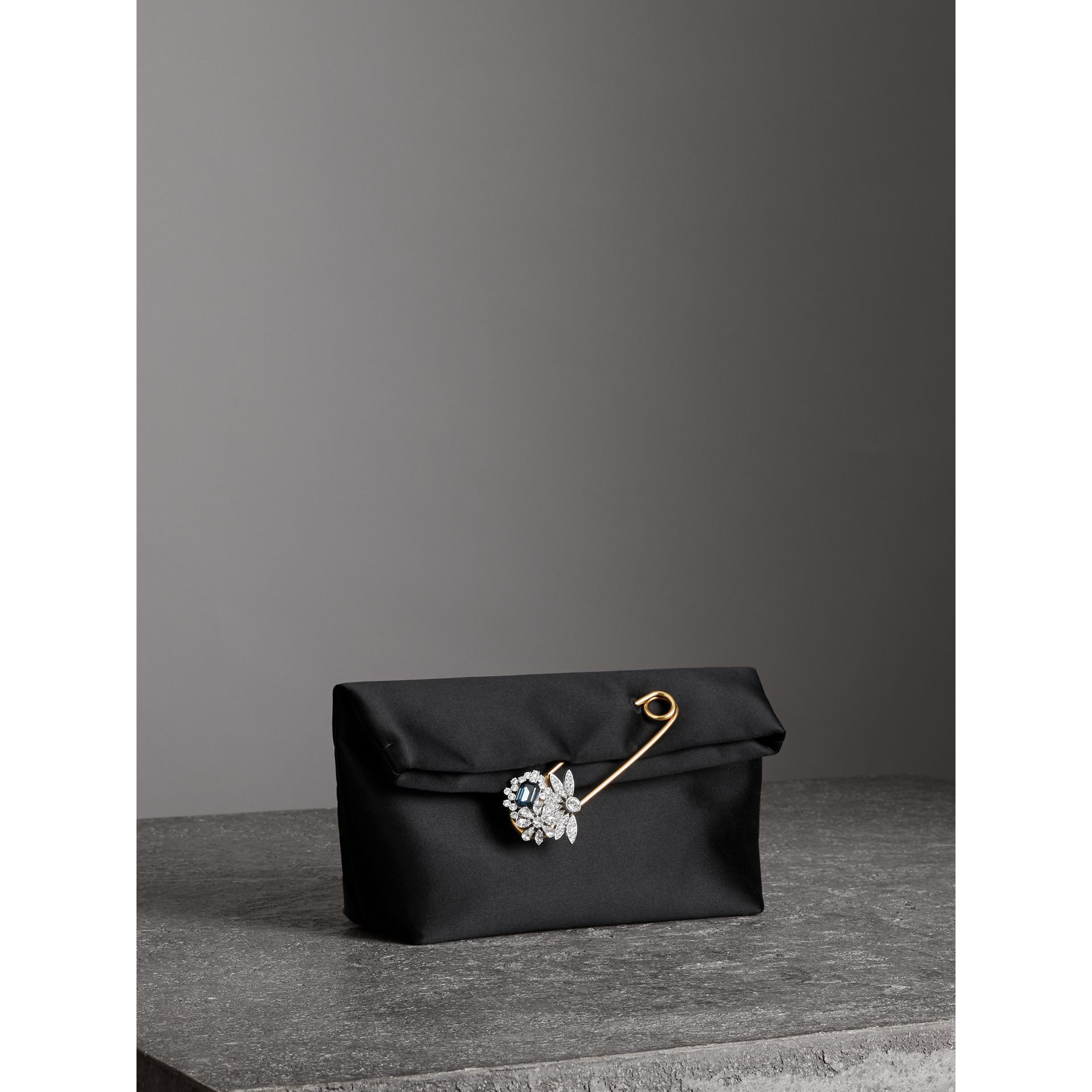 The Small Pin Clutch in Satin in Black - Women | Burberry - gallery image 6