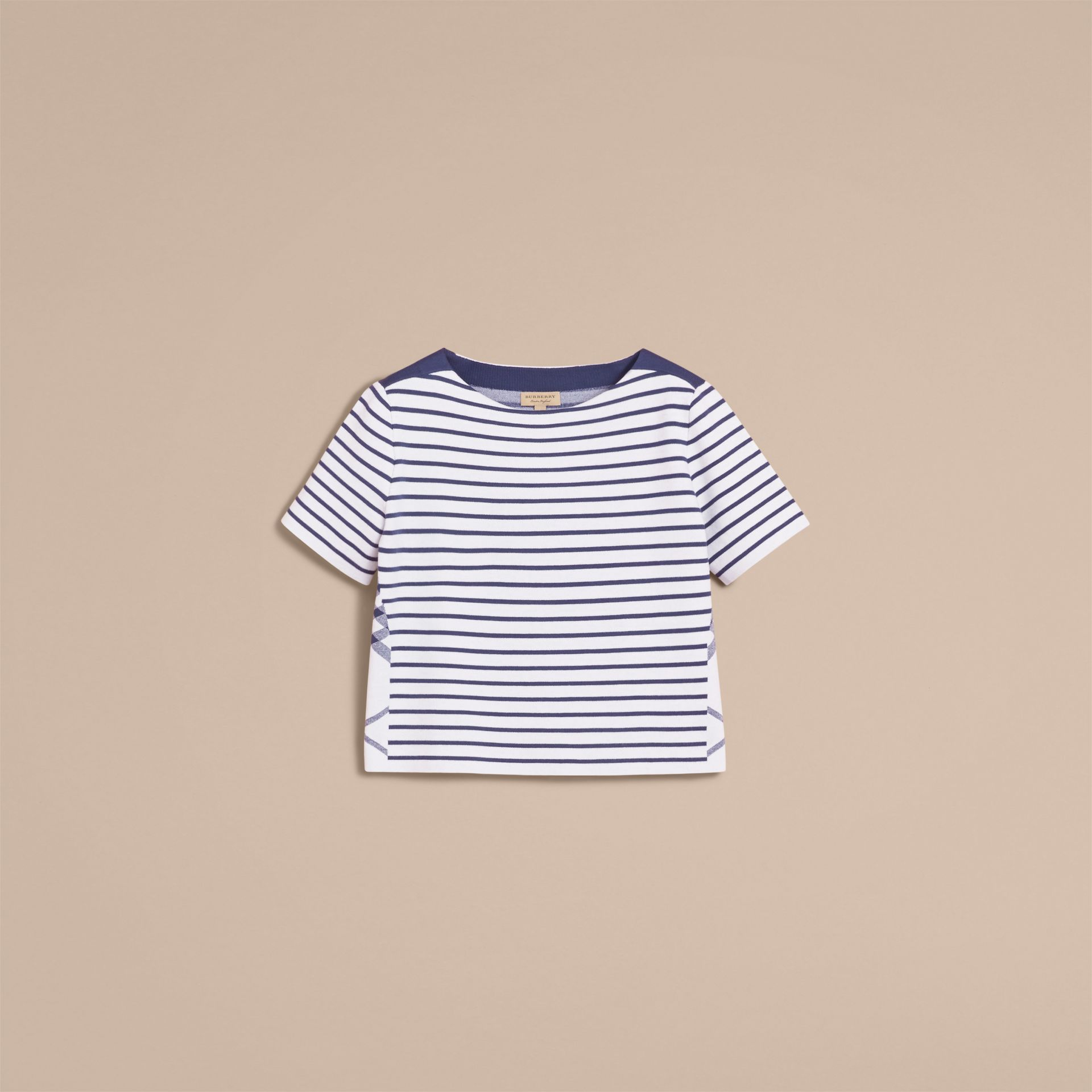 Check and Stripe Wool Blend T-shirt Bright Navy - gallery image 4