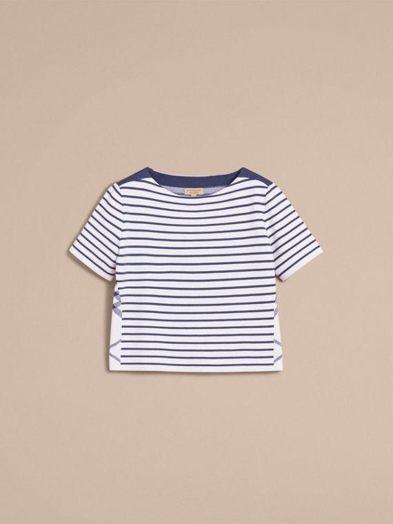 Check and Stripe Wool Blend T-shirt Bright Navy - cell image 3