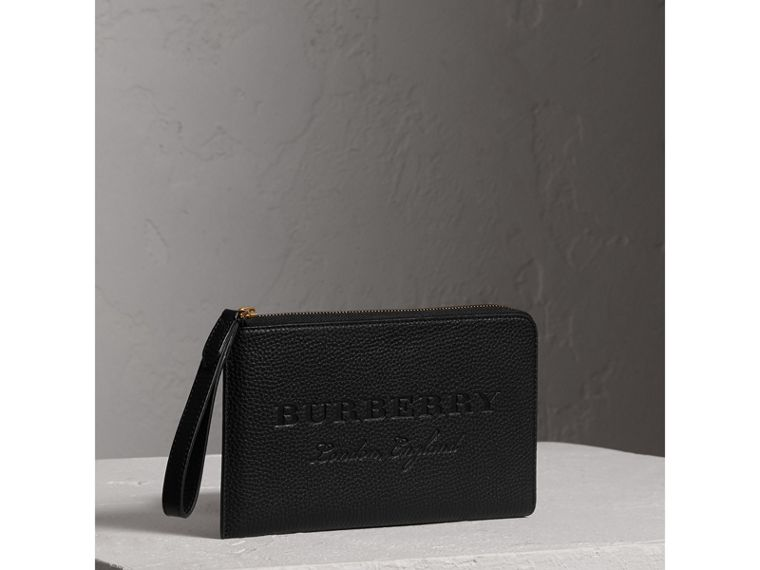 Embossed Leather Travel Wallet in Black | Burberry - cell image 4