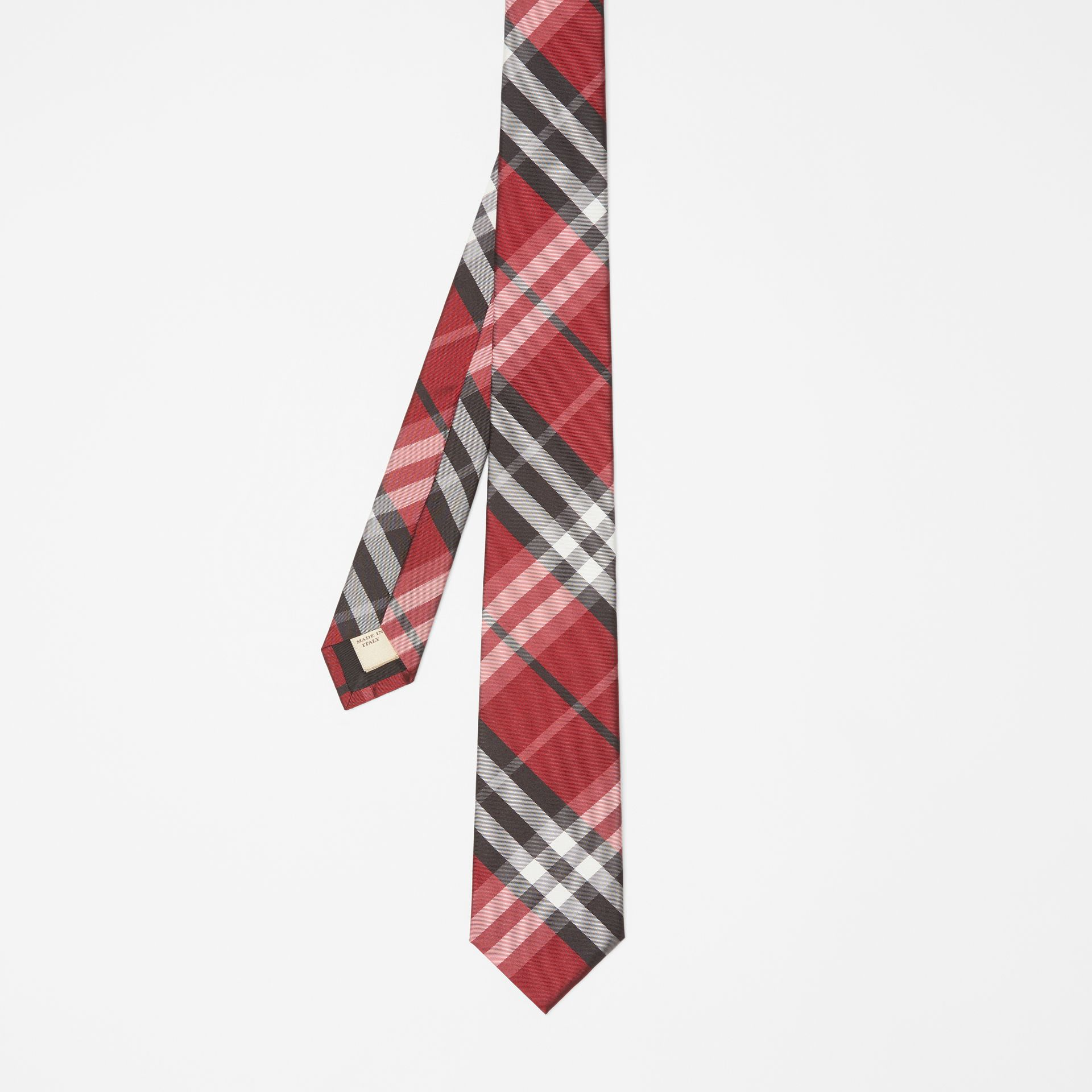 Modern Cut Vintage Check Silk Tie in Bright Red - Men | Burberry - gallery image 4