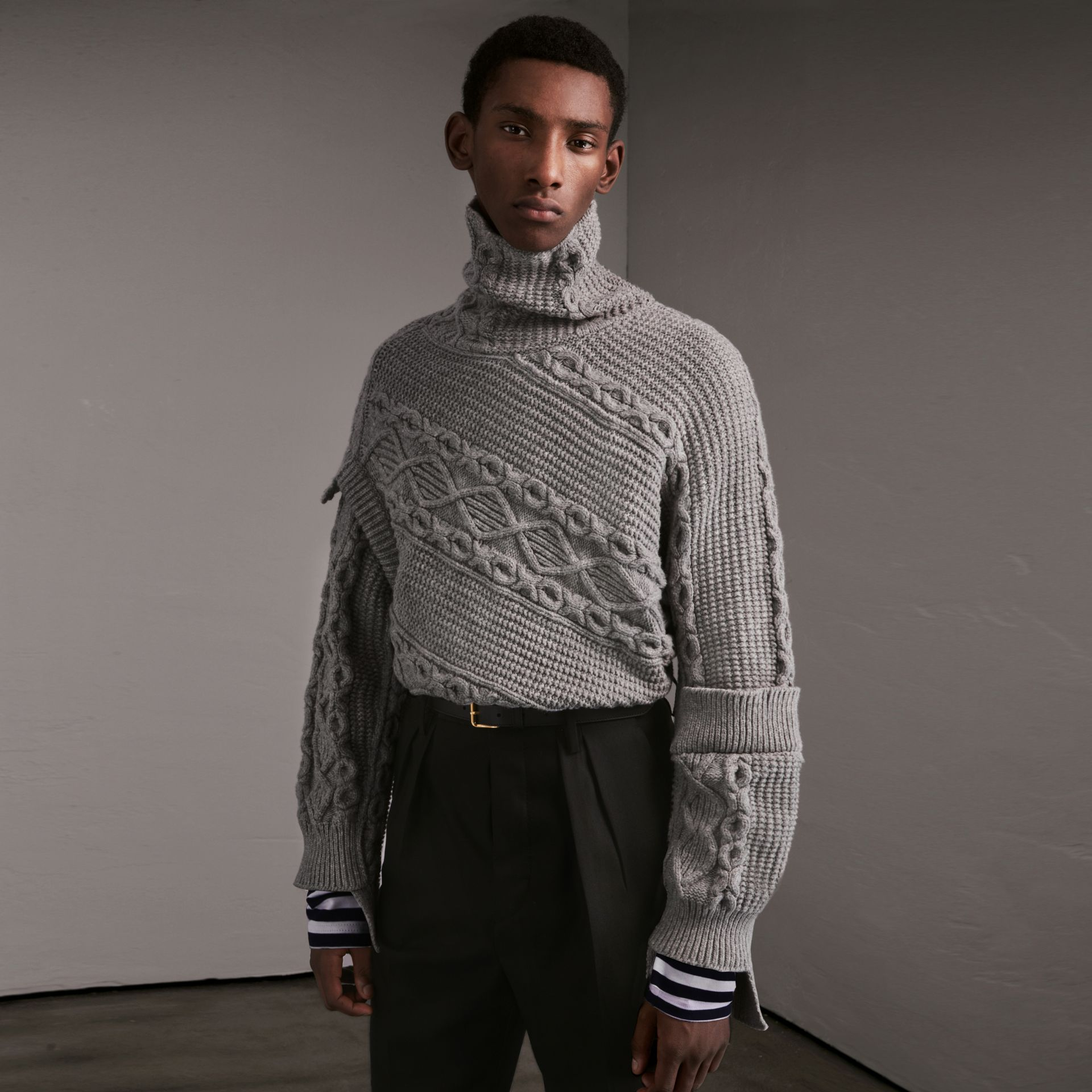 Cable and Rib Knit Collage Cotton Blend Sweater in Pale Grey Melange - Men | Burberry - gallery image 0