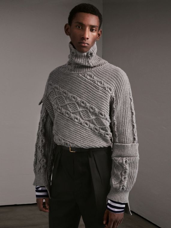 Cable and Rib Knit Collage Cotton Blend Sweater - Men | Burberry