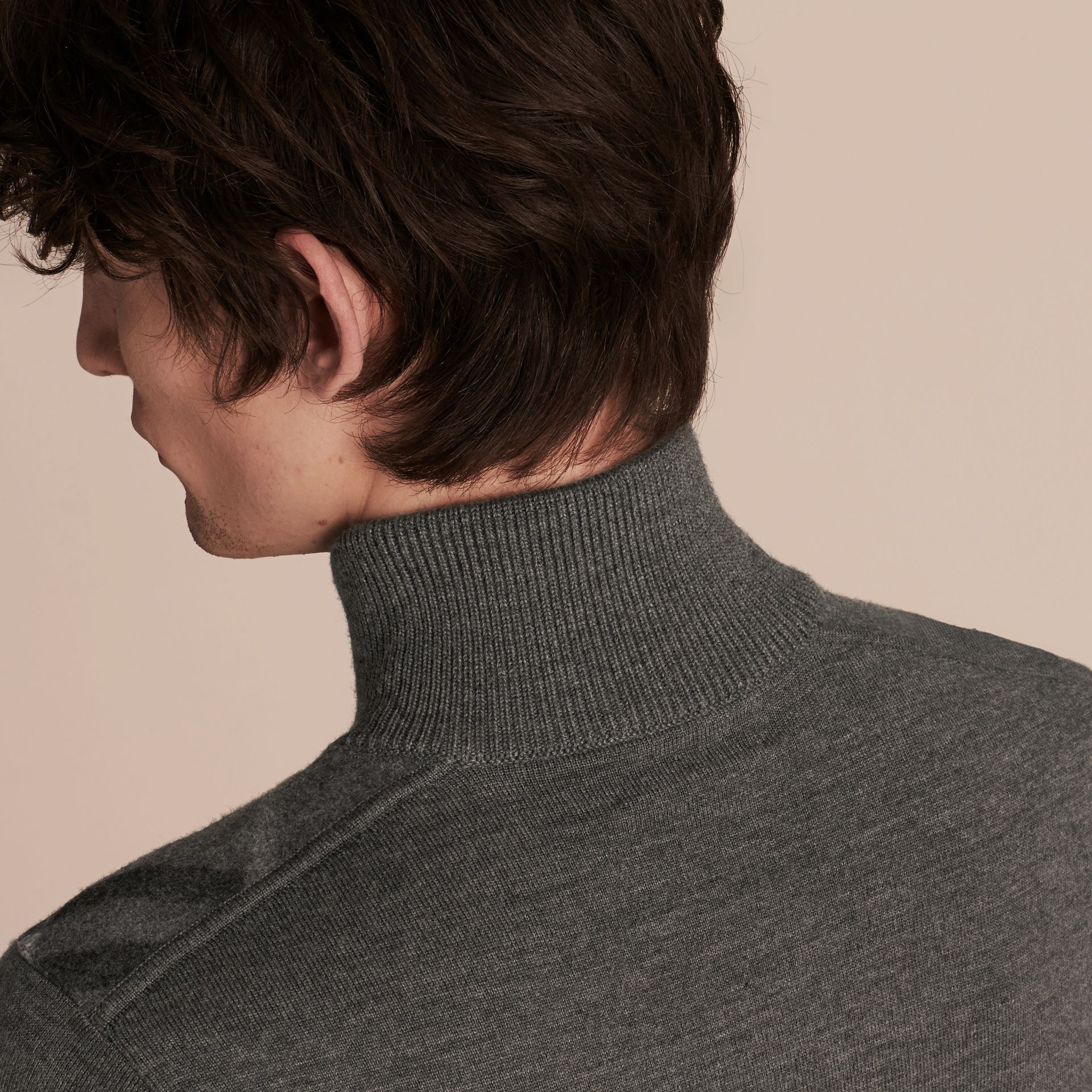Mid grey melange Zip-collar Merino Wool Sweater Mid Grey Melange - gallery image 5