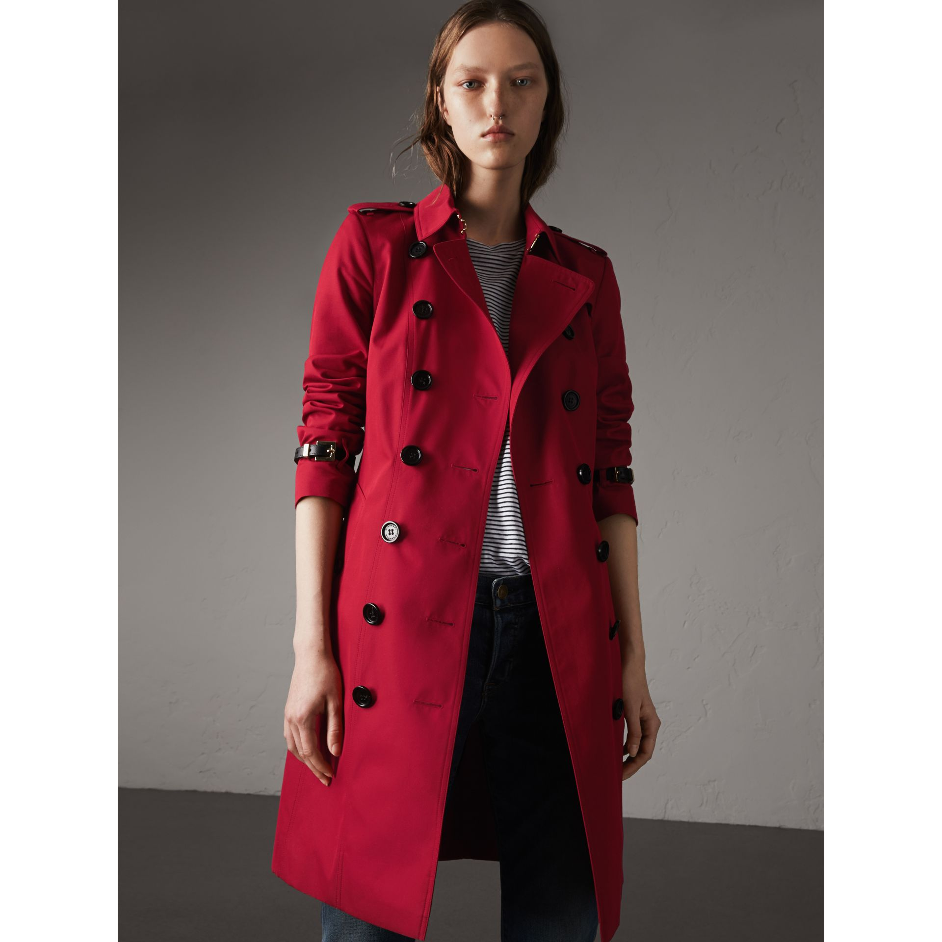 Leather Trim Cotton Gabardine Trench Coat in Parade Red - Women | Burberry - gallery image 1