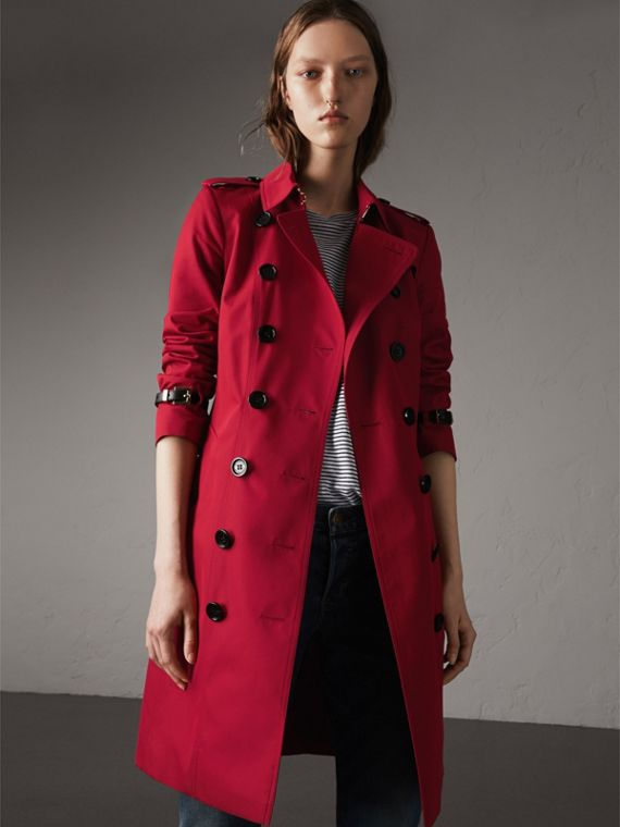 Leather Trim Cotton Gabardine Trench Coat in Parade Red - Women | Burberry