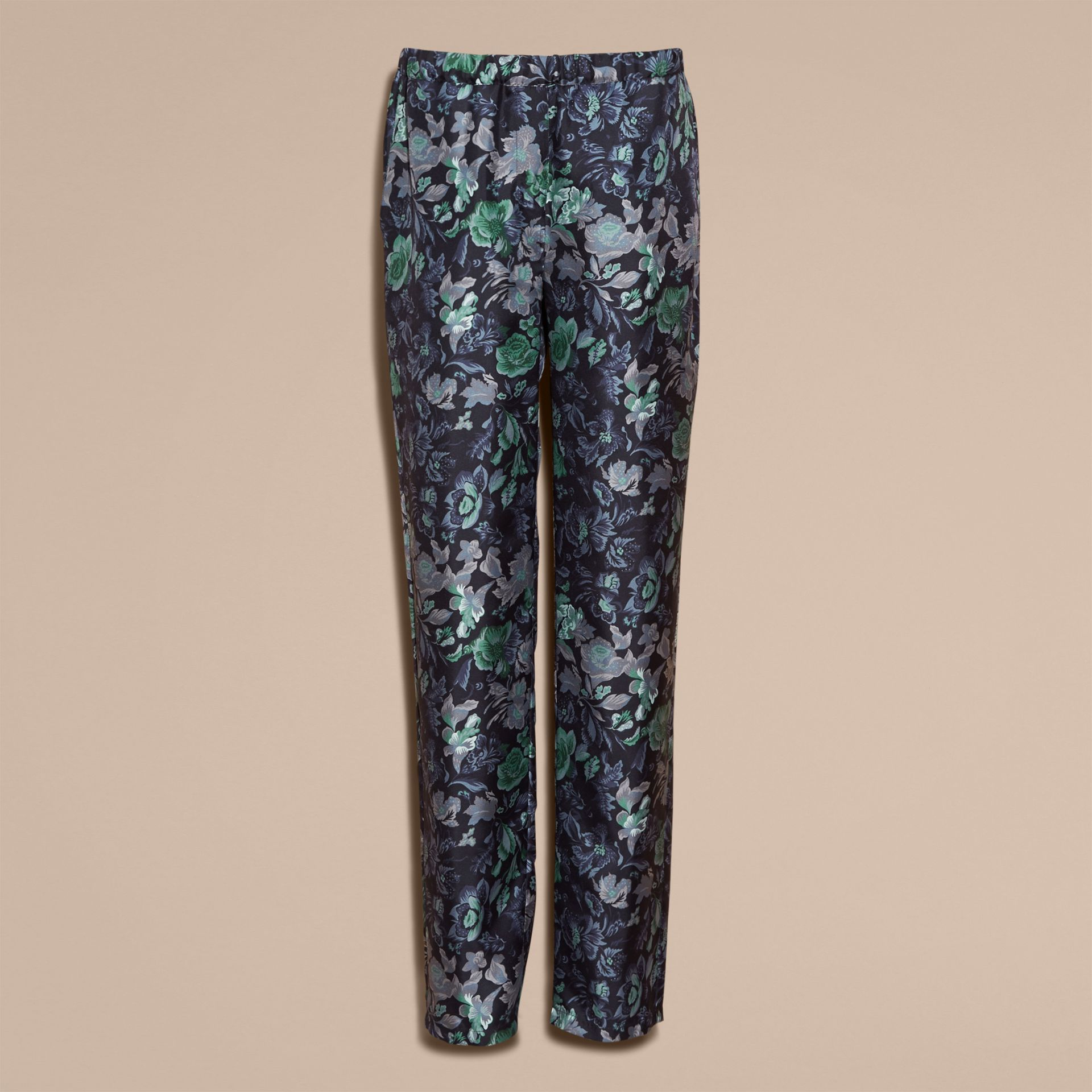 Navy Floral Print Silk Twill Pyjama-style Trousers - gallery image 4