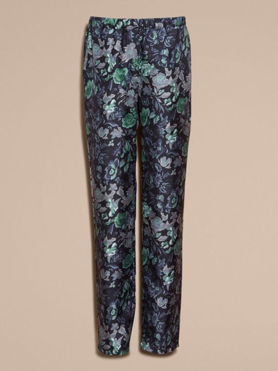 Navy Floral Print Silk Twill Pyjama-style Trousers - cell image 3