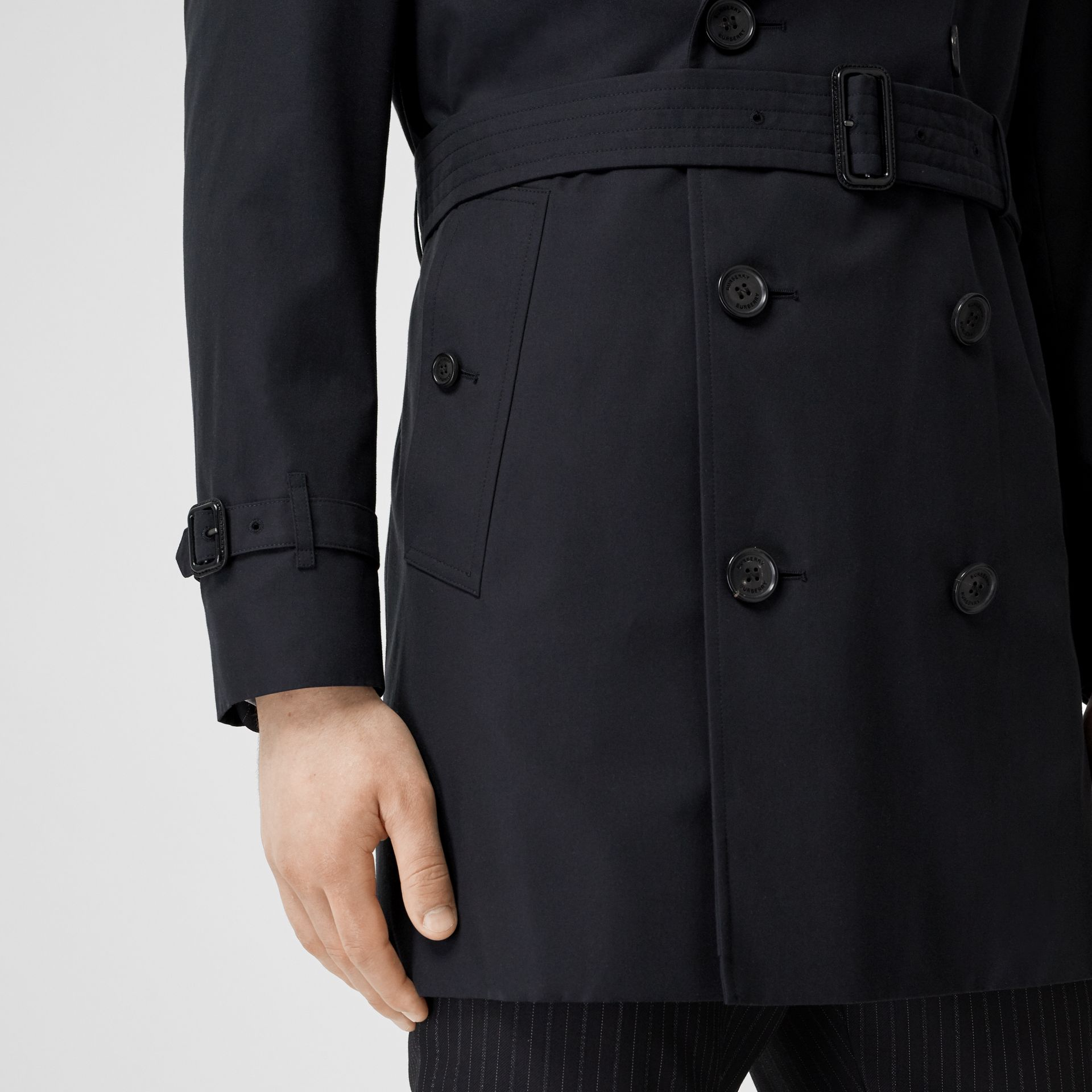 Cotton Gabardine Trench Coat in Midnight Navy - Men | Burberry Australia - gallery image 3
