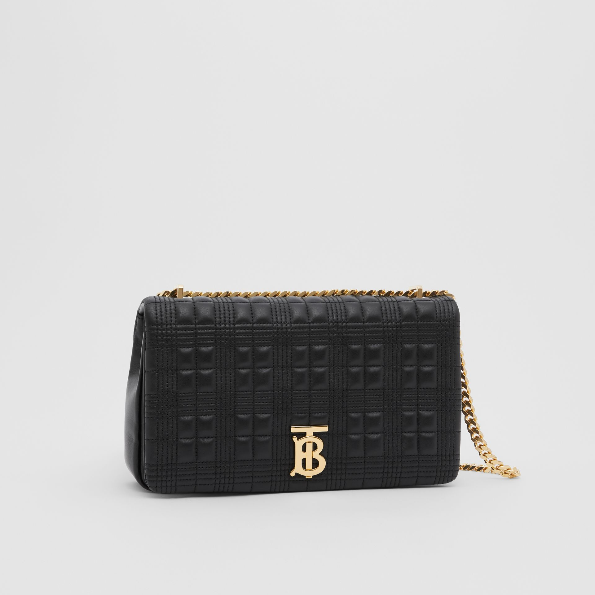 Medium Quilted Check Lambskin Lola Bag in Black - Women | Burberry - gallery image 4