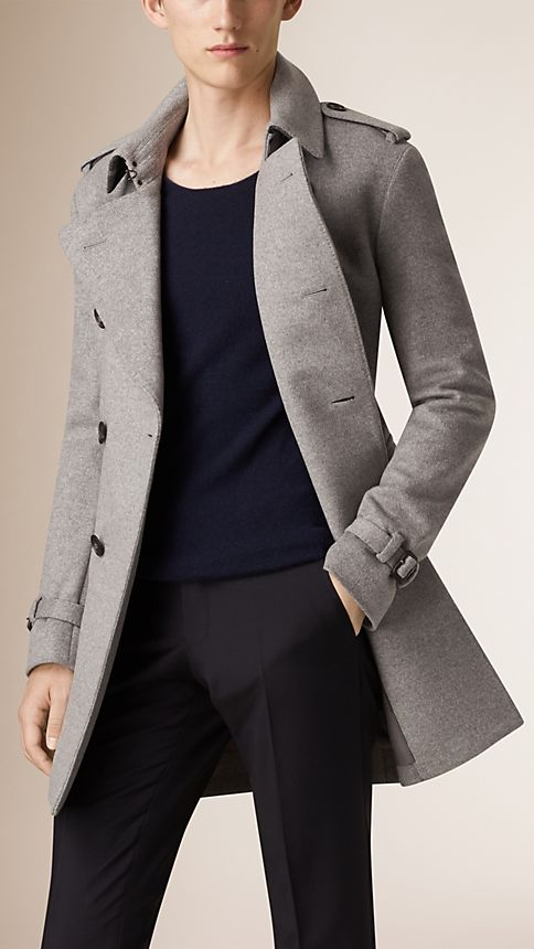 Pale grey melange Mid-Length Wool Cashmere Trench Coat - Image 1