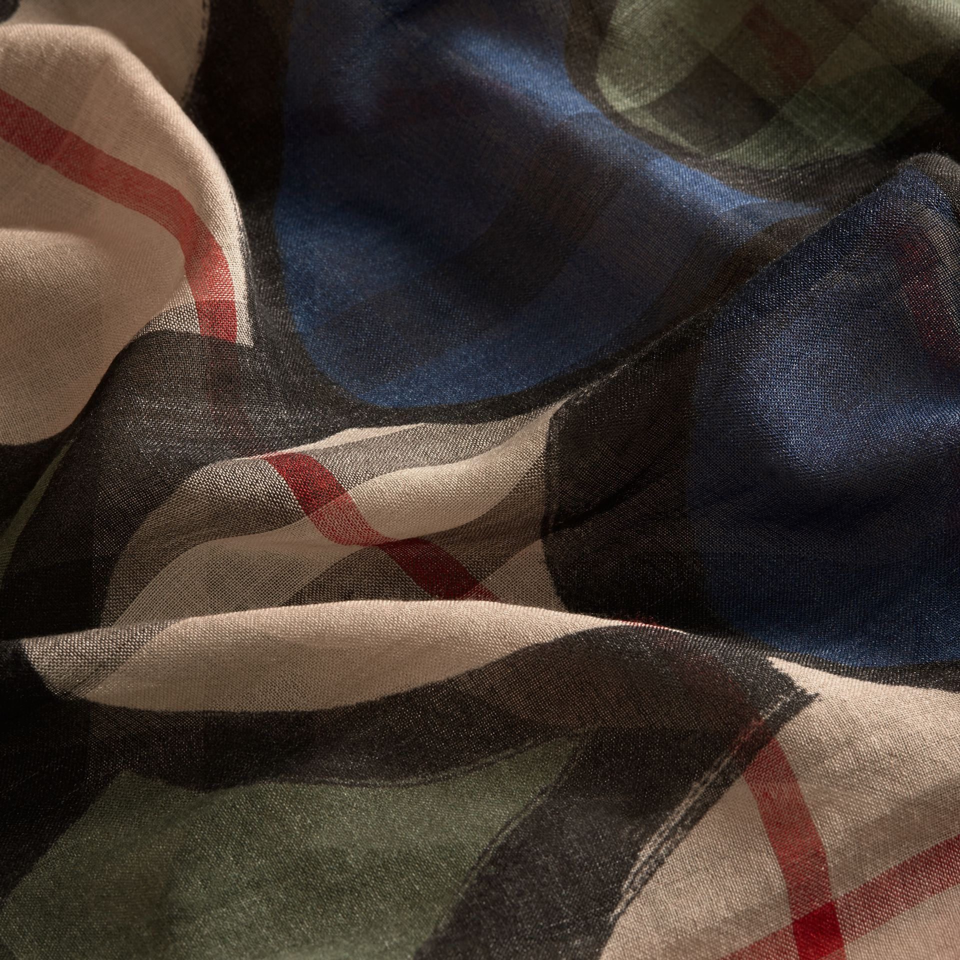 Check Wool Silk Scarf with Trompe L'oeil Print in Sage Green - Women | Burberry - gallery image 2