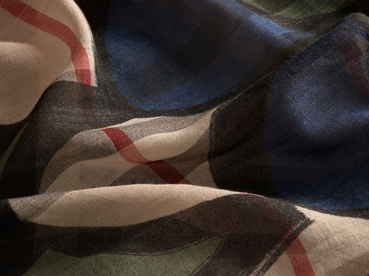 Check Wool Silk Scarf with Trompe L'oeil Print in Sage Green - Women | Burberry - cell image 1