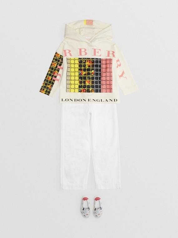 Sweat-shirt à capuche avec imprimé floral graphique (Blanc)