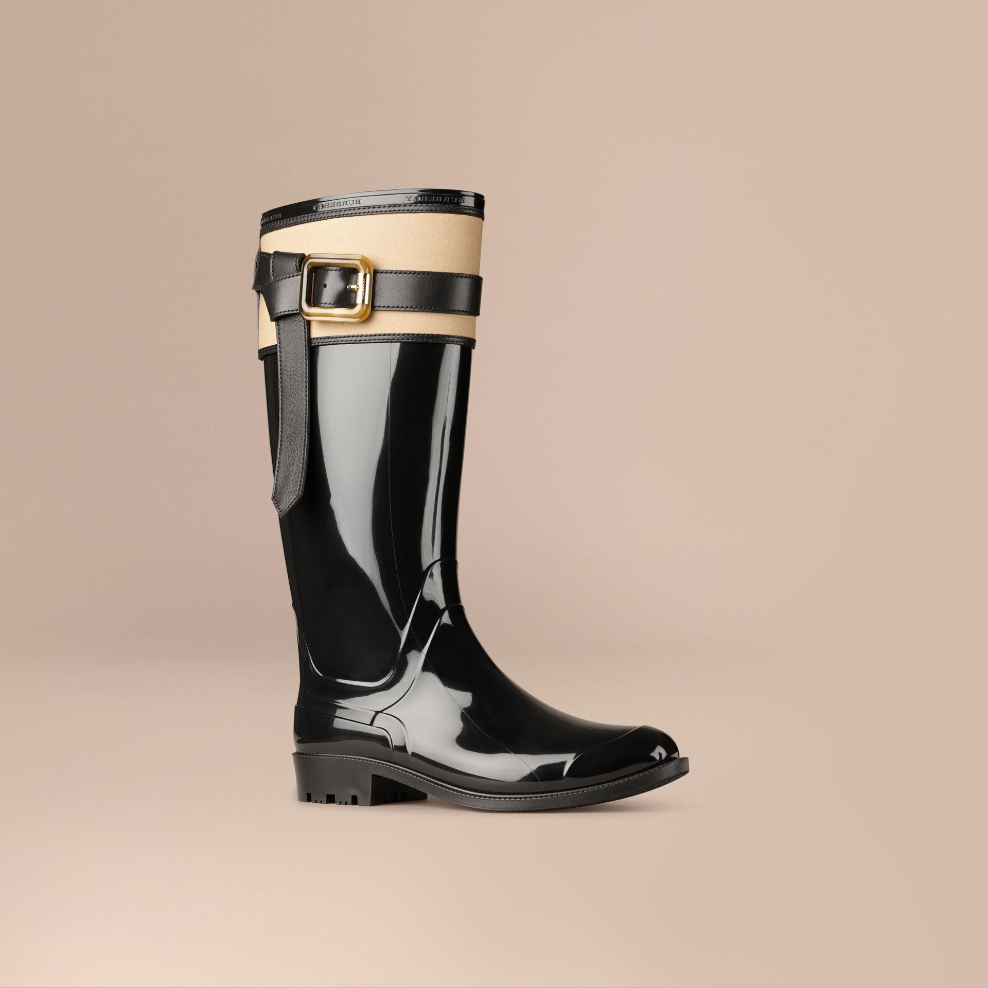 Black/honey Belted Equestrian Rain Boots - gallery image 1