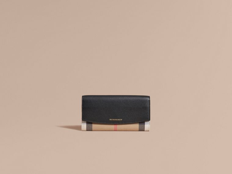 Black House Check And Leather Continental Wallet Black - cell image 1