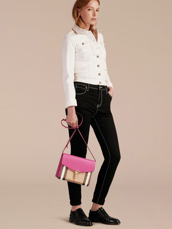 Brilliant fuchsia Small Leather and House Check Crossbody Bag - cell image 2