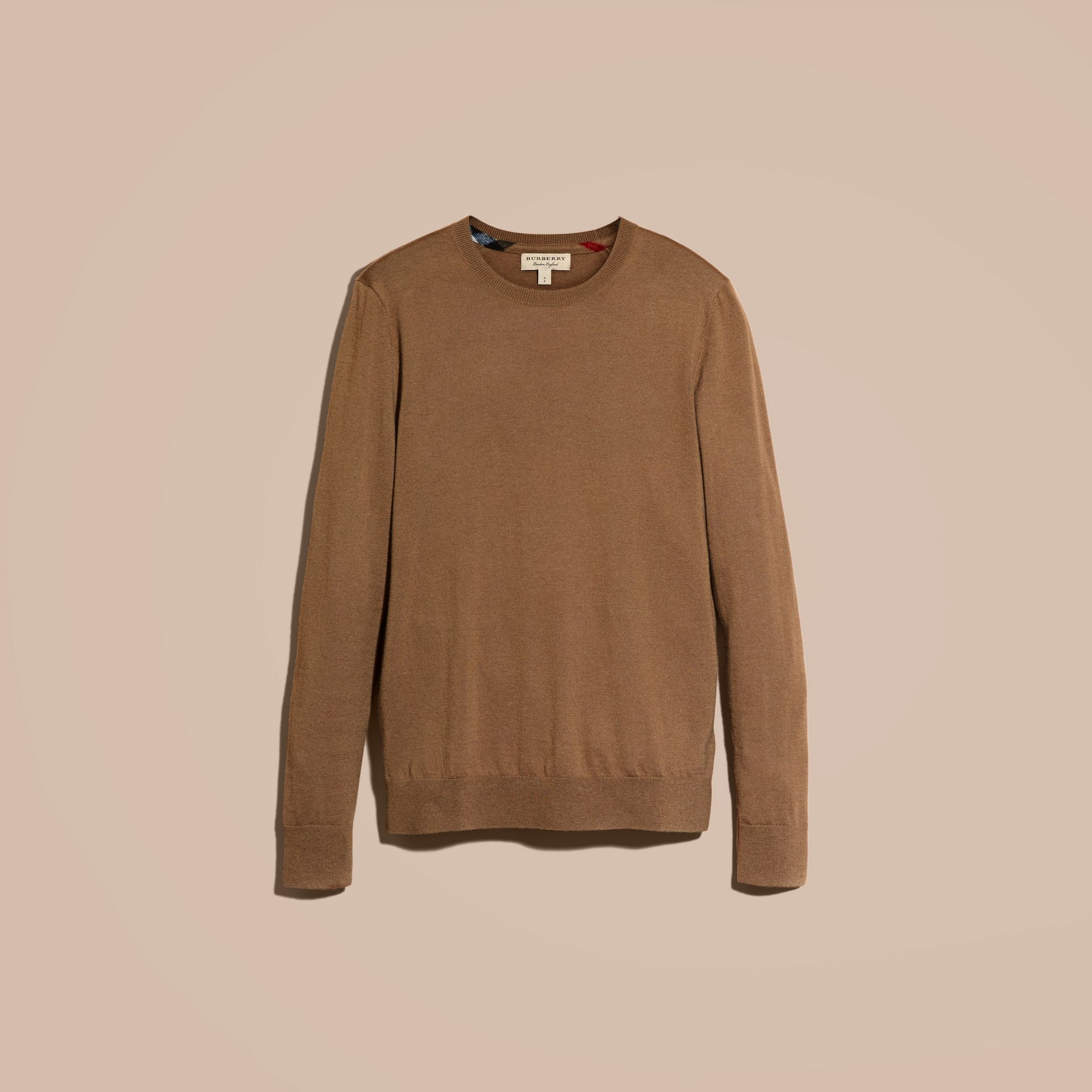Lightweight Crew Neck Cashmere Sweater with Check Trim Camel - gallery image 4