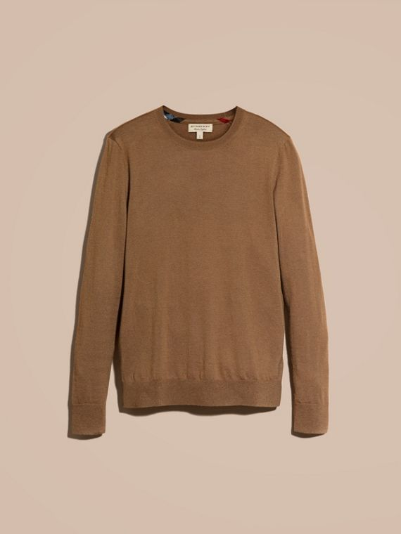 Lightweight Crew Neck Cashmere Sweater with Check Trim Camel - cell image 3
