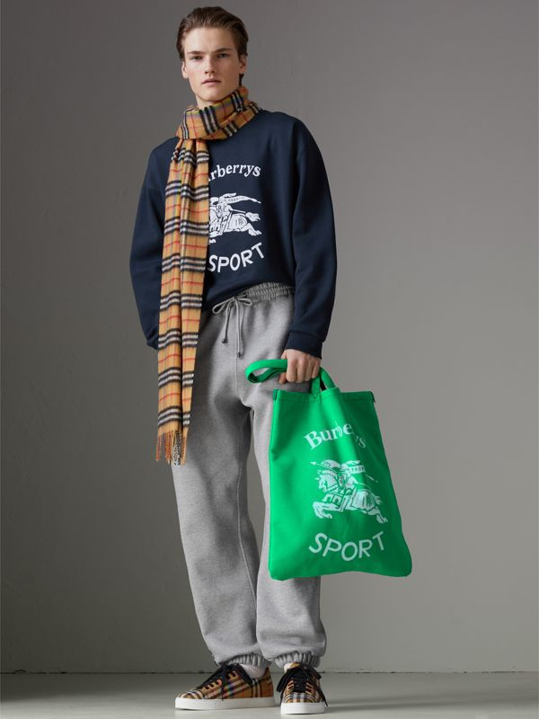 Large Archive Logo Jersey Shopper in Bright Green | Burberry Canada - cell image 3