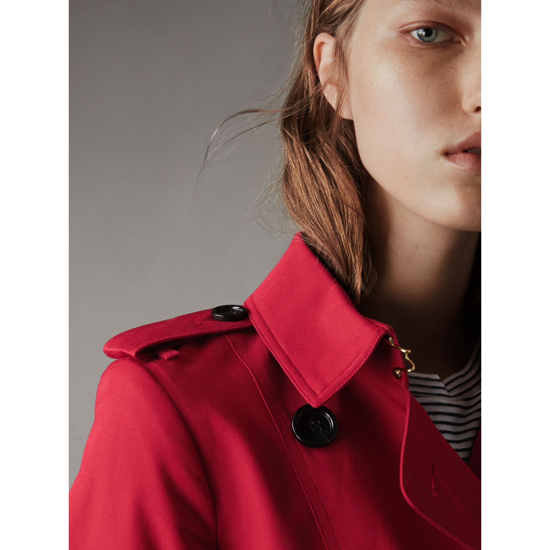 Leather Trim Cotton Gabardine Trench Coat in Parade Red - Women | Burberry - gallery image 2