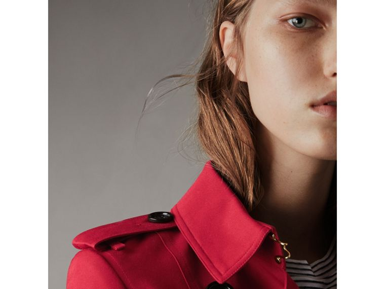 Leather Trim Cotton Gabardine Trench Coat in Parade Red - Women | Burberry - cell image 1