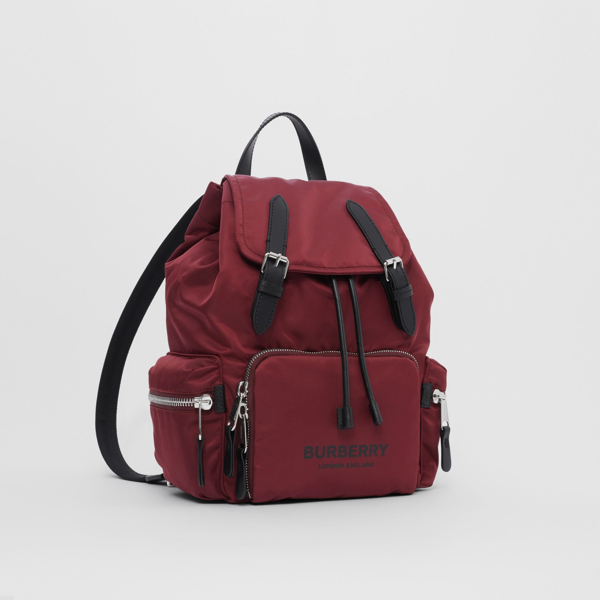 The Medium Rucksack in Logo Print ECONYL® in Burgundy - Women | Burberry Singapore - gallery image 4