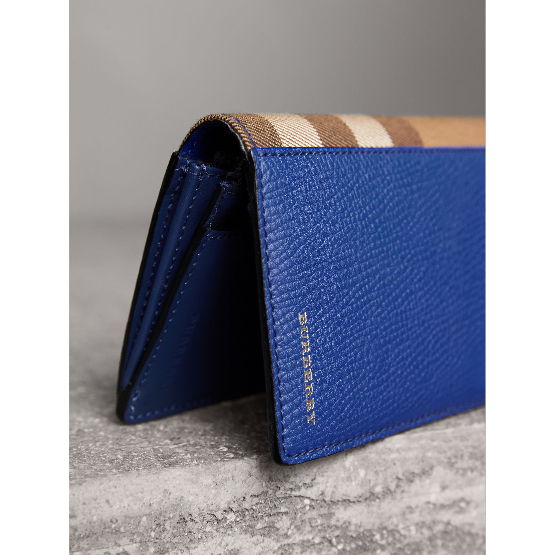 House Check and Grainy Leather Continental Wallet in Deep Blue - Men | Burberry Australia - gallery image 2
