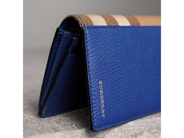 House Check and Grainy Leather Continental Wallet in Deep Blue - Men | Burberry Singapore - cell image 1