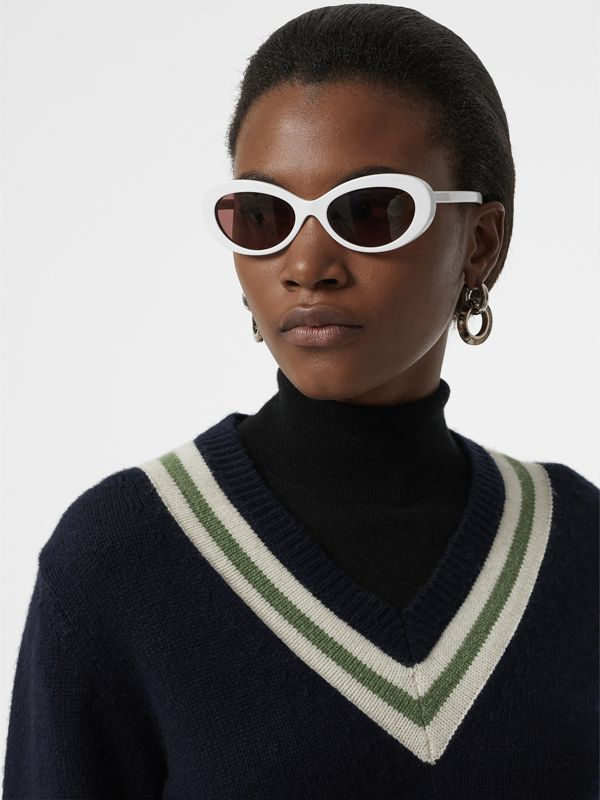 Cat-eye Frame Sunglasses in White - Women | Burberry - cell image 2
