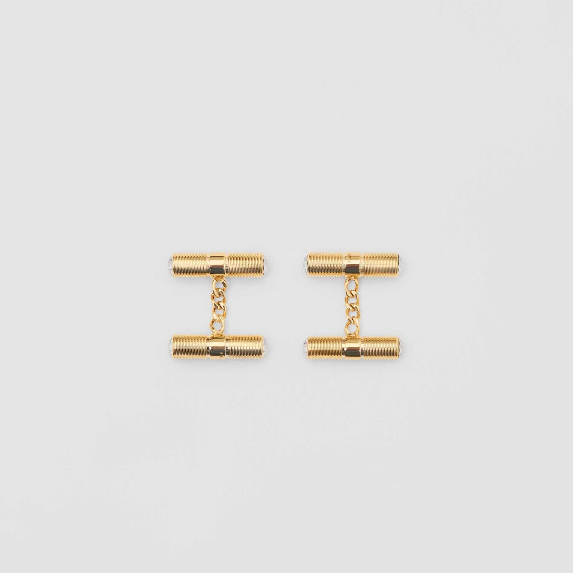 Crystal Gold-plated Bolt Chain-link Cufflinks in Light - Men | Burberry - gallery image 2