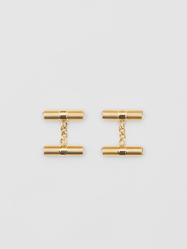 Crystal Gold-plated Bolt Chain-link Cufflinks in Light - Men | Burberry - cell image 2