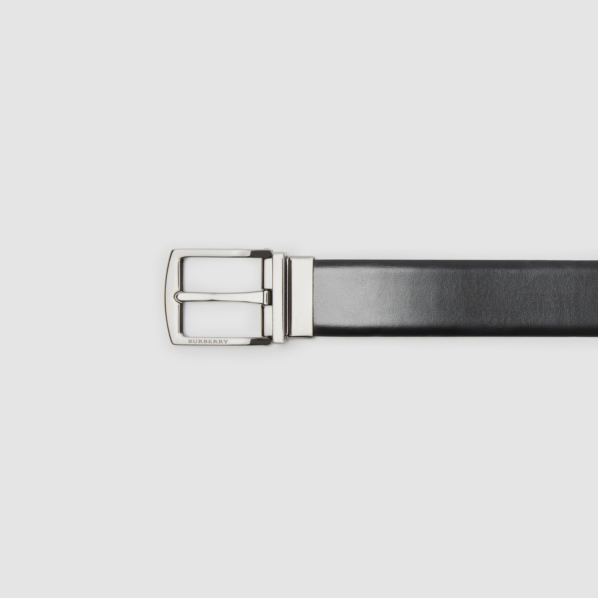 Reversible Leather Belt in Black/chocolate - Men | Burberry United Kingdom - gallery image 1