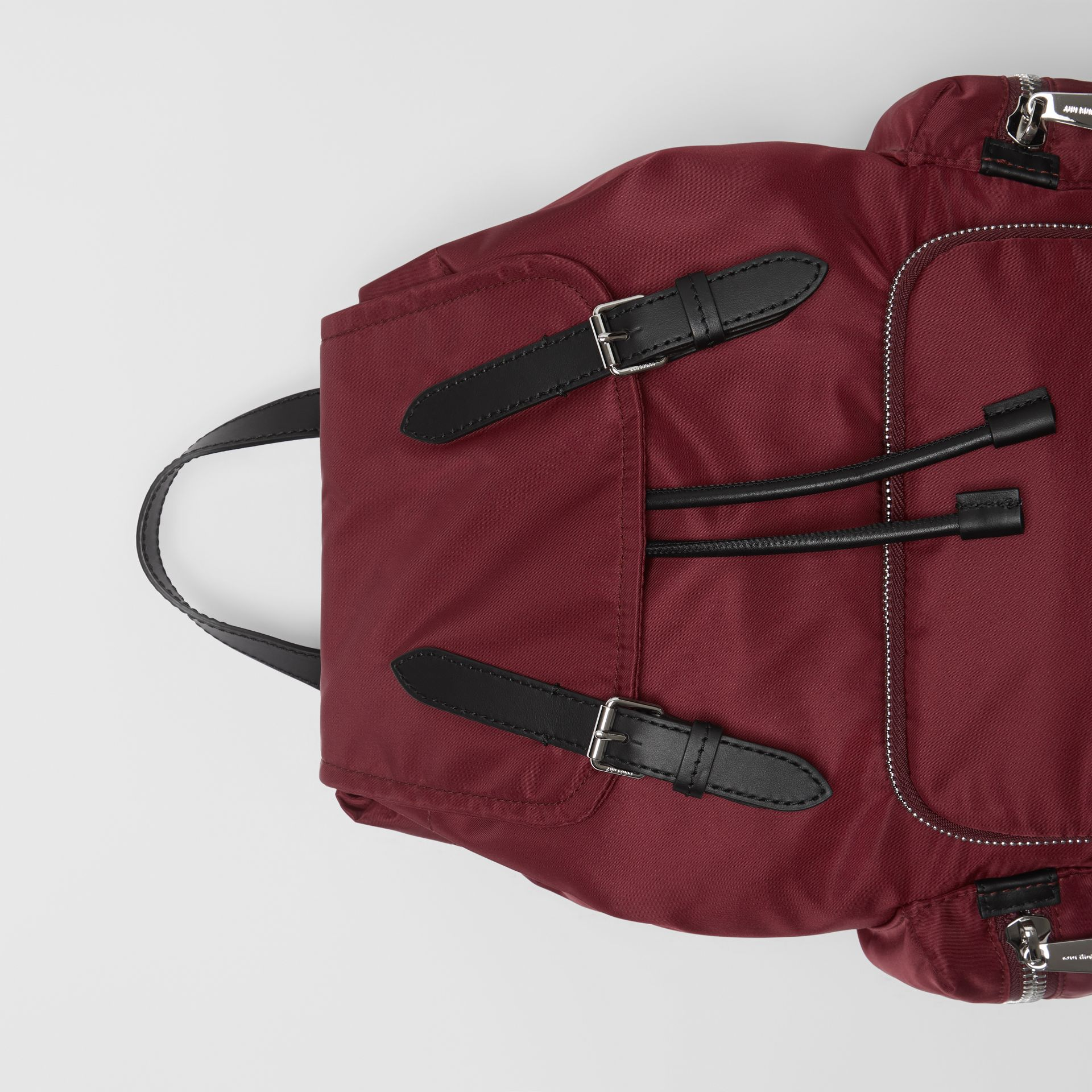 The Medium Rucksack in Logo Print Nylon in Burgundy - Women | Burberry Canada - gallery image 1