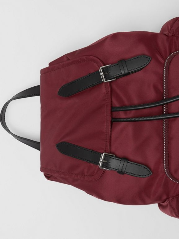 The Medium Rucksack in Logo Print Nylon in Burgundy - Women | Burberry - cell image 1