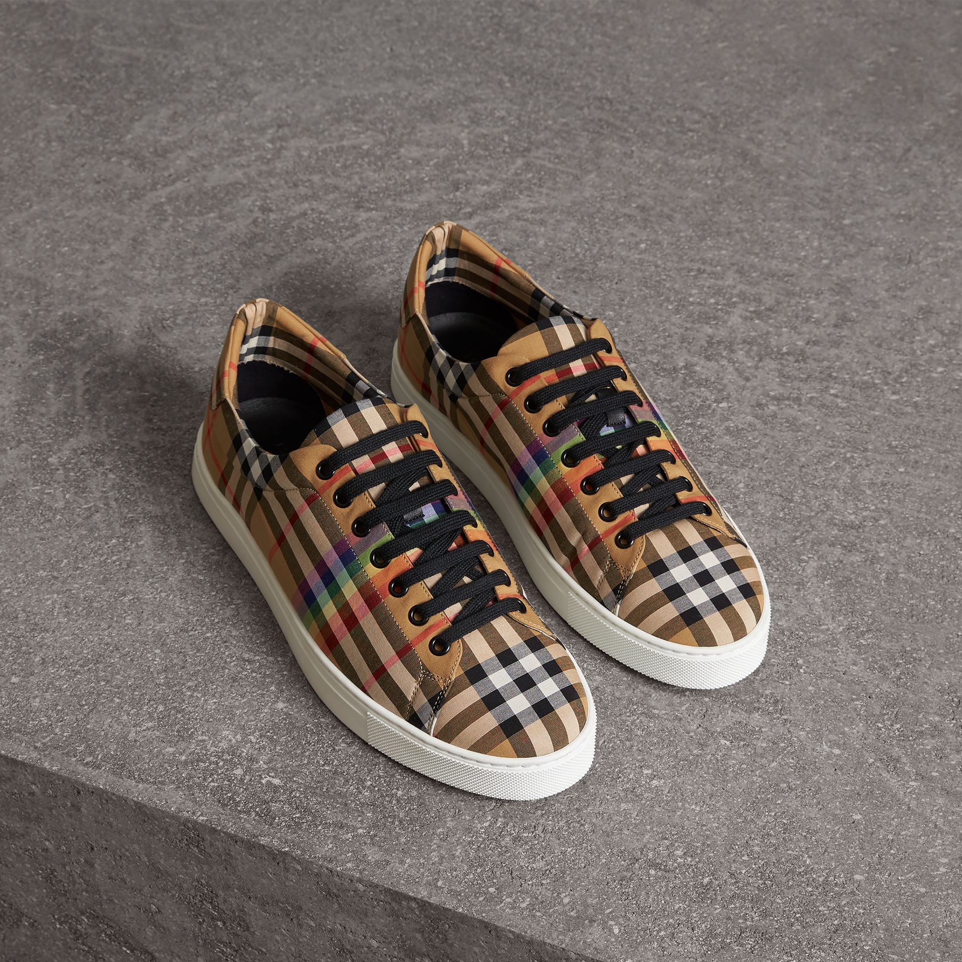 Rainbow Vintage Check Sneakers in Antique Yellow - Men | Burberry - gallery image 0