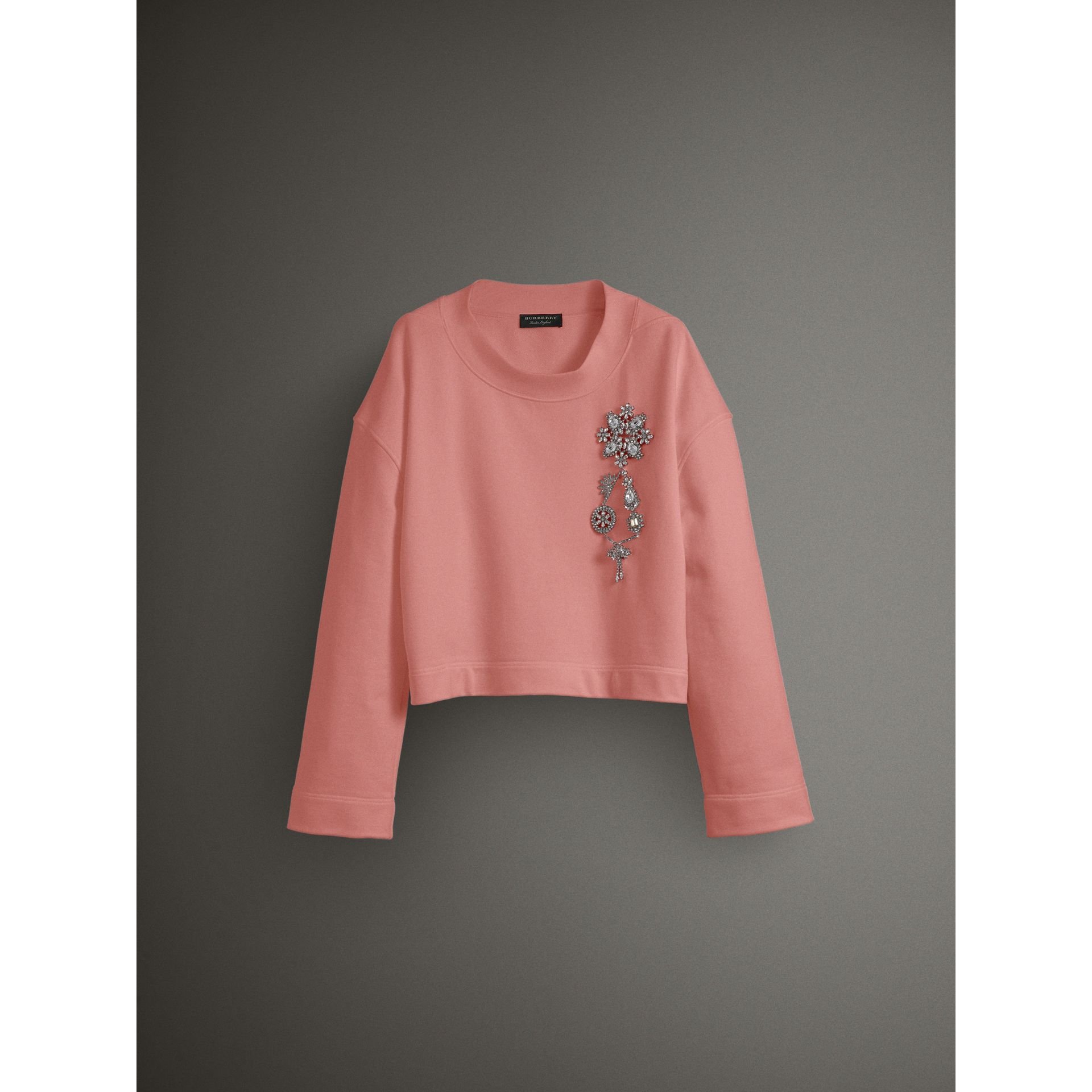 Cropped Sweatshirt with Crystal Brooch in Vintage Rose - Women | Burberry Australia - gallery image 3