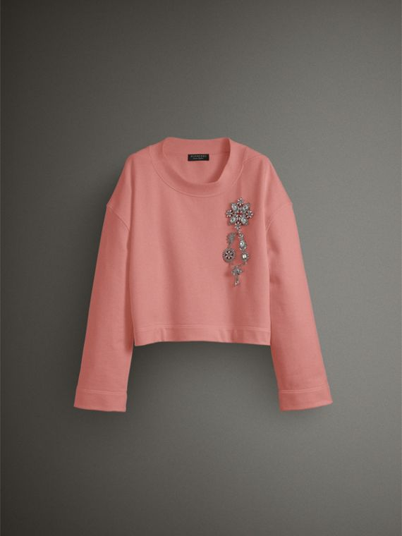 Cropped Sweatshirt with Crystal Brooch in Vintage Rose - Women | Burberry - cell image 3