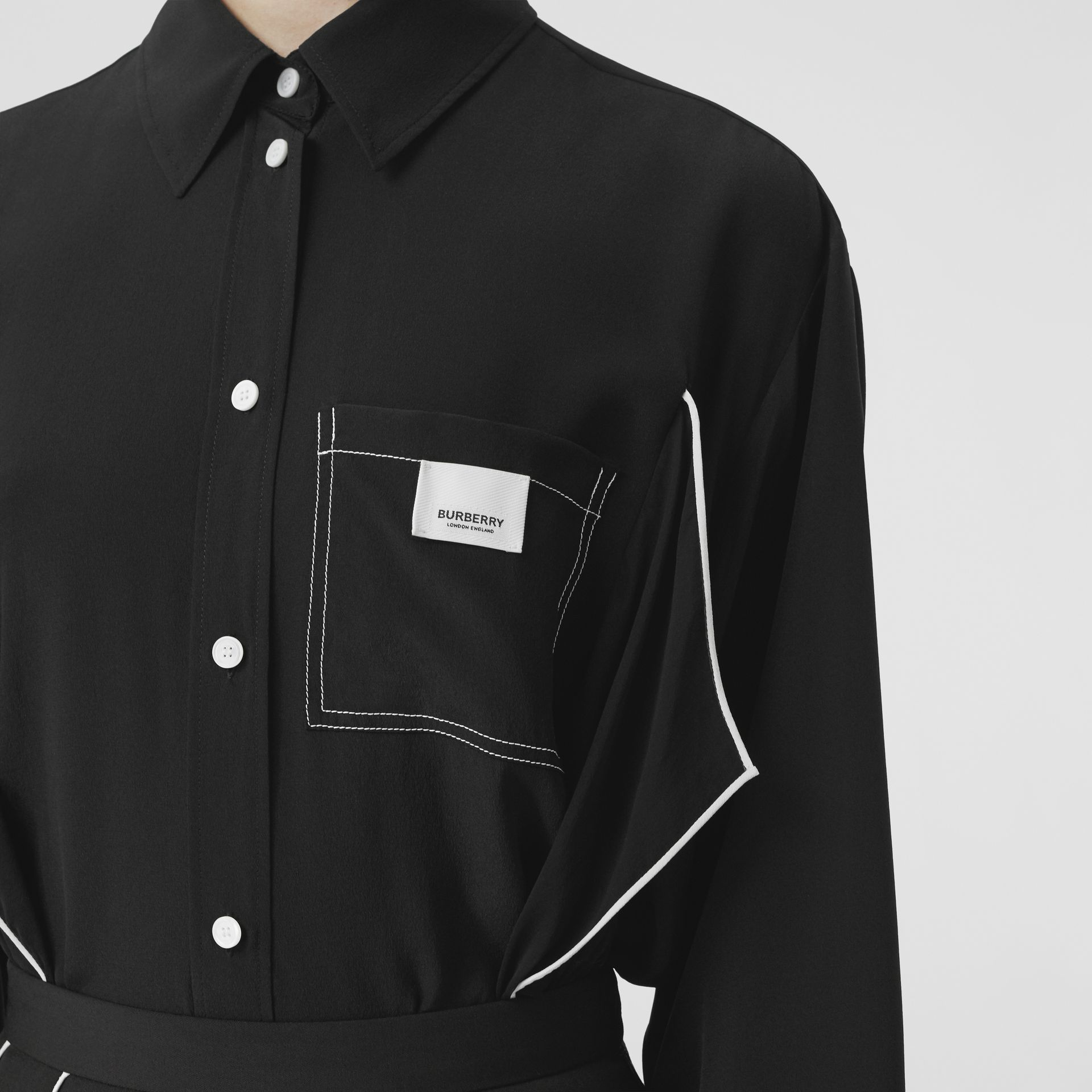 Piping Detail Silk Oversized Shirt and Tie Twinset in Black - Women | Burberry Hong Kong S.A.R - gallery image 5