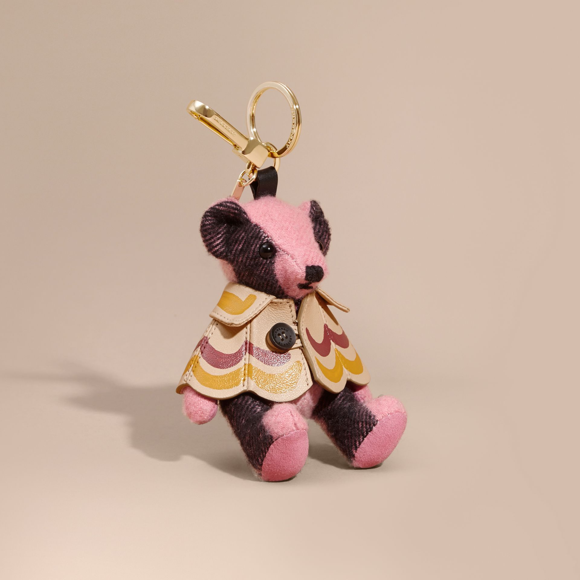 Thomas Bear Charm in Trompe L'oeil Print Cape in Rose Pink - Women | Burberry - gallery image 1