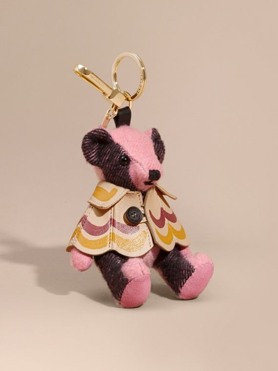 Thomas Bear Charm in Trompe L'oeil Print Cape in Rose Pink - Women | Burberry