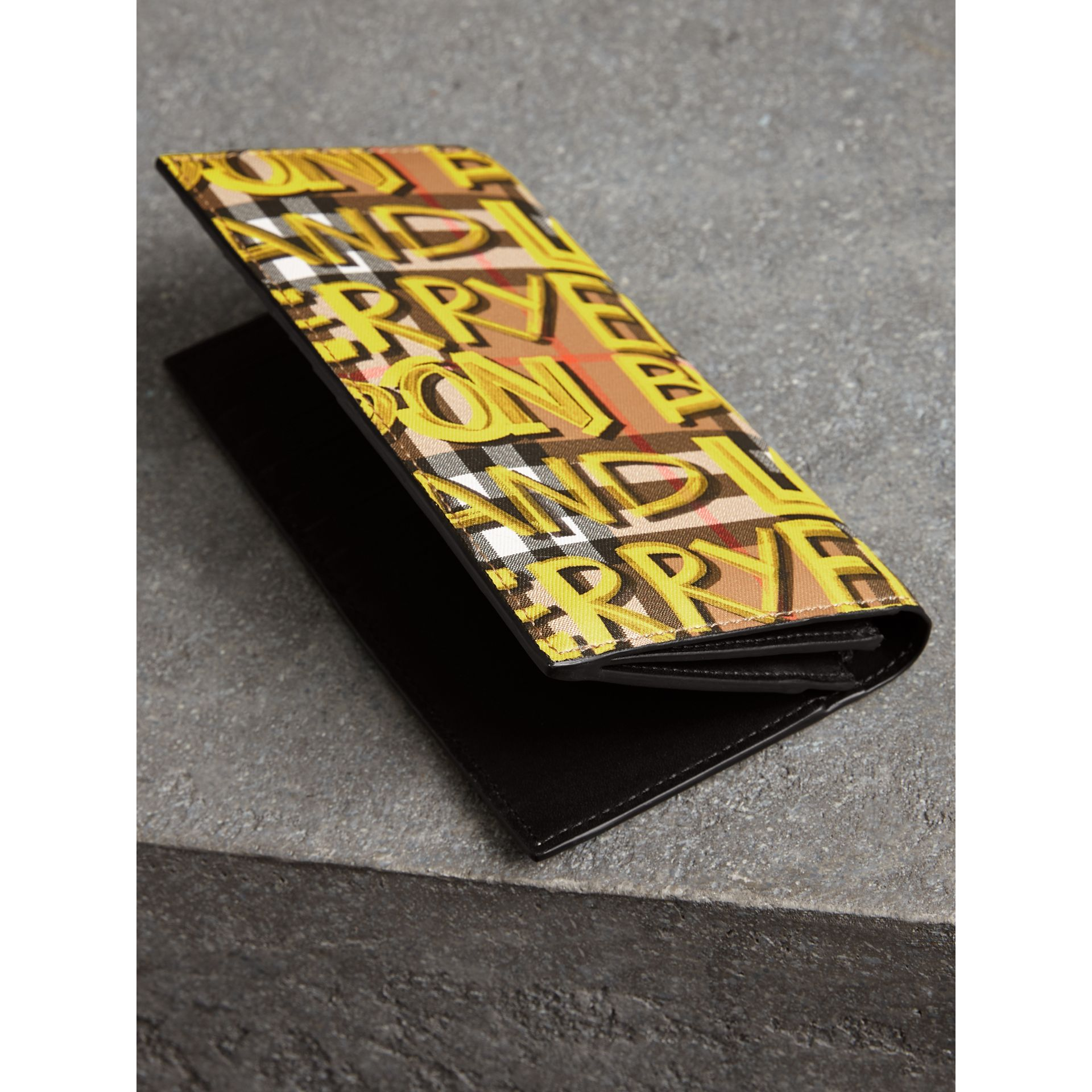 Graffiti Print Vintage Check Leather Continental Wallet in Multicolour - Men | Burberry - gallery image 2