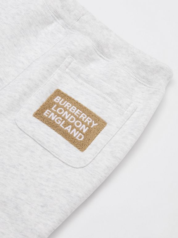 Logo Detail Jersey Trackpants in White Melange | Burberry United States - cell image 1