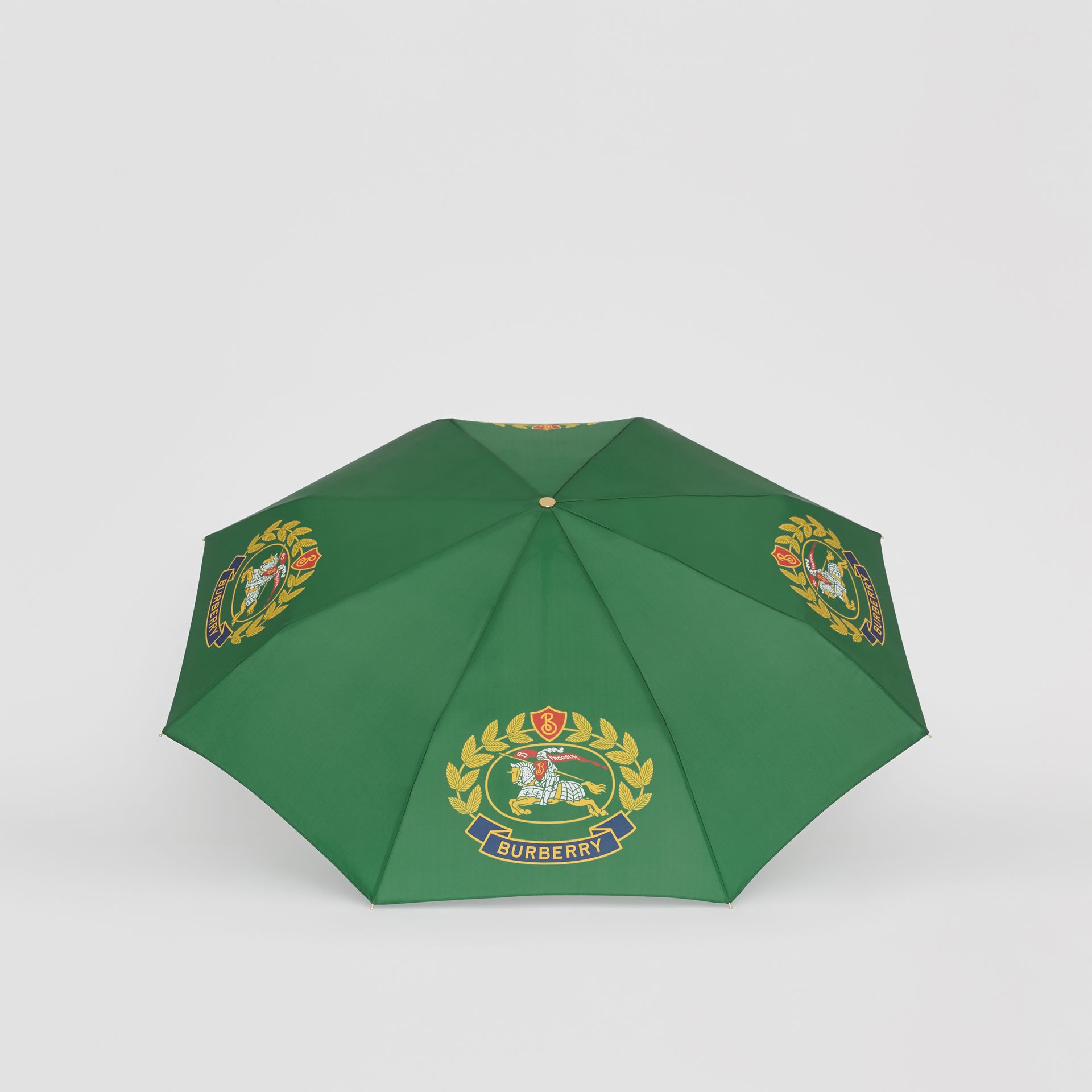 Crest Print Folding Umbrella in Dark Forest Green | Burberry Canada - gallery image 2