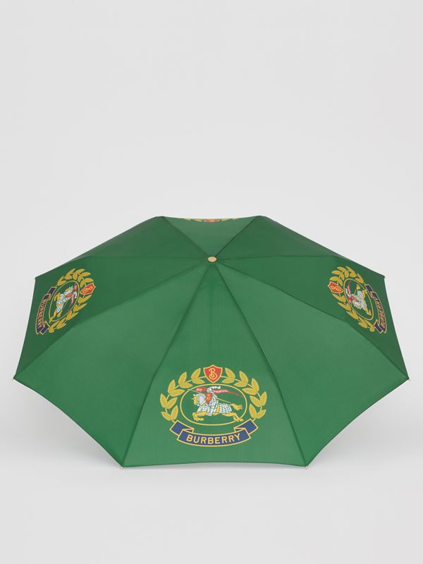 Crest Print Folding Umbrella in Dark Forest Green | Burberry - cell image 2
