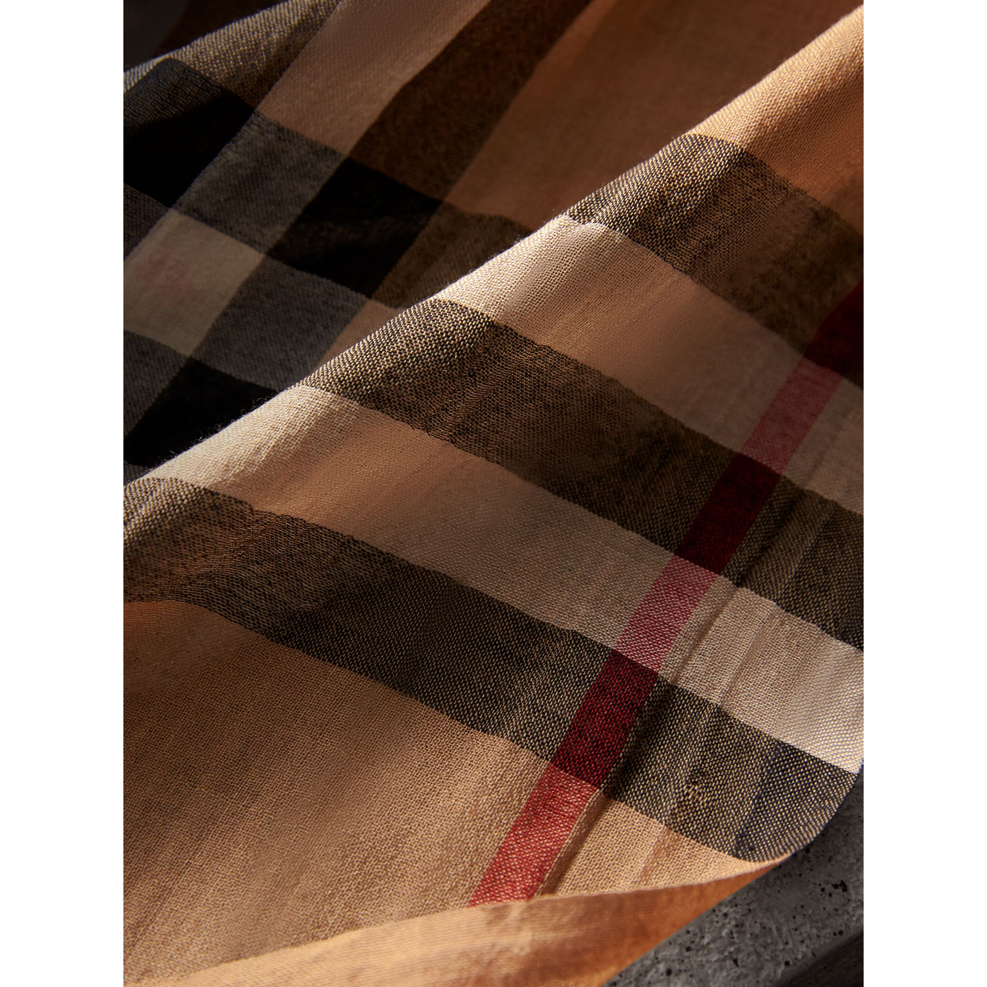 Lightweight Check Wool and Silk Scarf in Camel | Burberry - gallery image 1