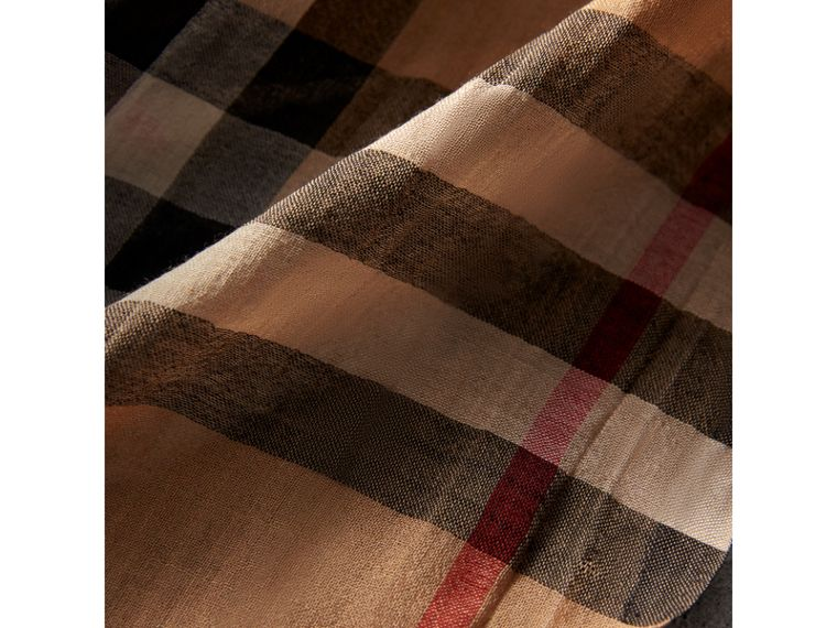 Lightweight Check Wool and Silk Scarf in Camel | Burberry Hong Kong - cell image 1