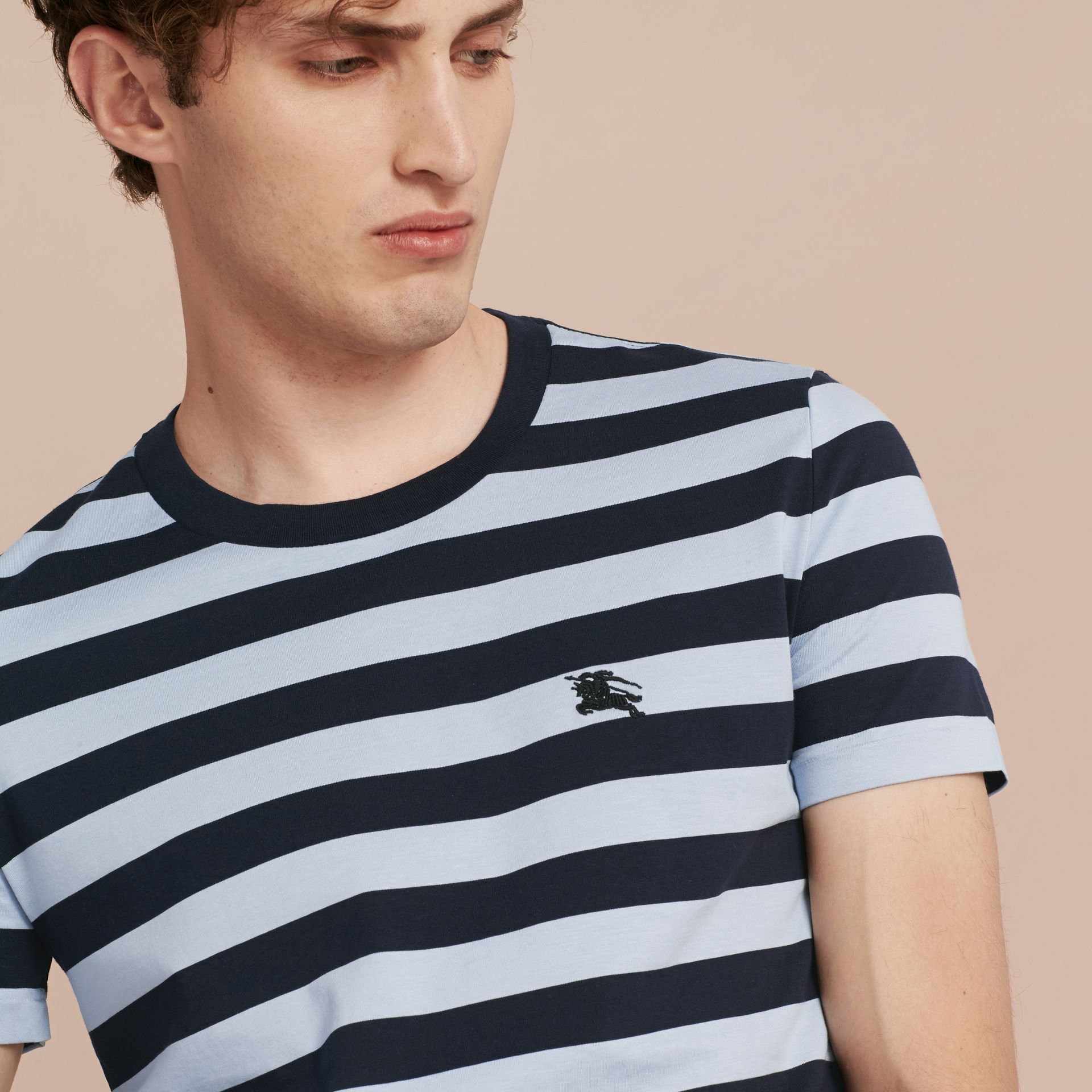 Navy Striped Cotton T-Shirt Navy - gallery image 4