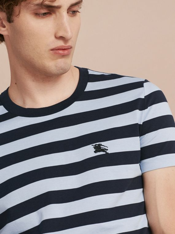 Navy Striped Cotton T-Shirt Navy - cell image 3