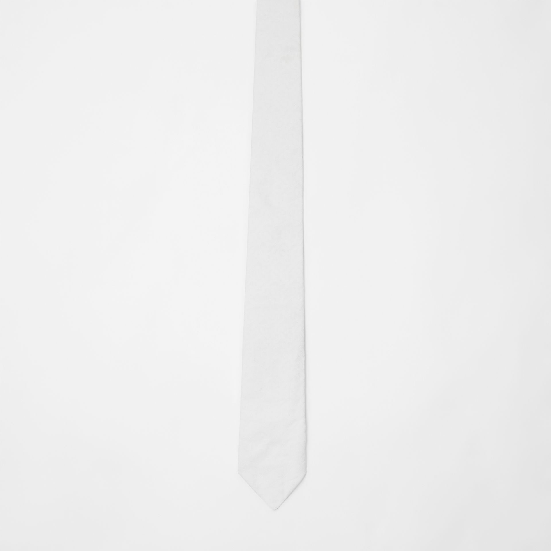 Classic Cut Monogram Silk Jacquard Tie in White - Men | Burberry United Kingdom - gallery image 3